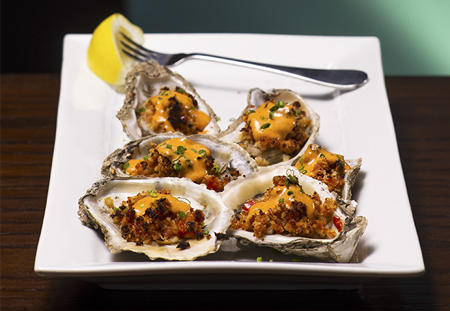 Goin' Coastal: Andouille Sausage Stuffed Oysters with Choron Sauce