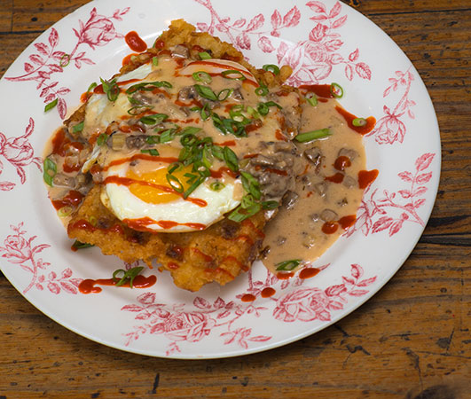 Miltons: Tater Tot Waffles with Andouille Red Eye Gravy